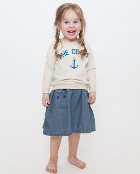The Little College Sweatshirt. -- Vanilla with Blue Anchor Graphic