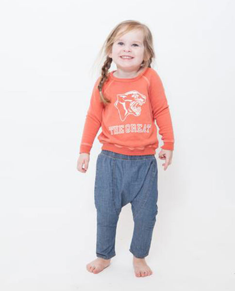 The Little College Sweatshirt. -- Washed Orange with Panther Graphic