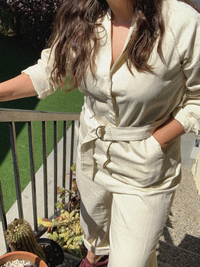 The Herringbone Roundtop Jumpsuit. -- Cream