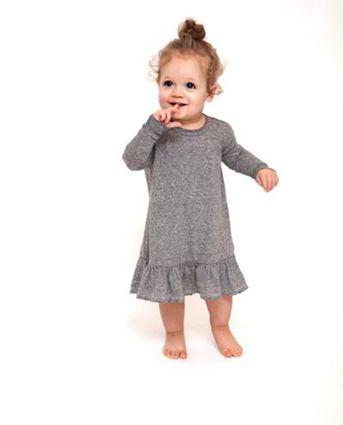 The Little Drop Ruffle Dress. -- Heather Grey