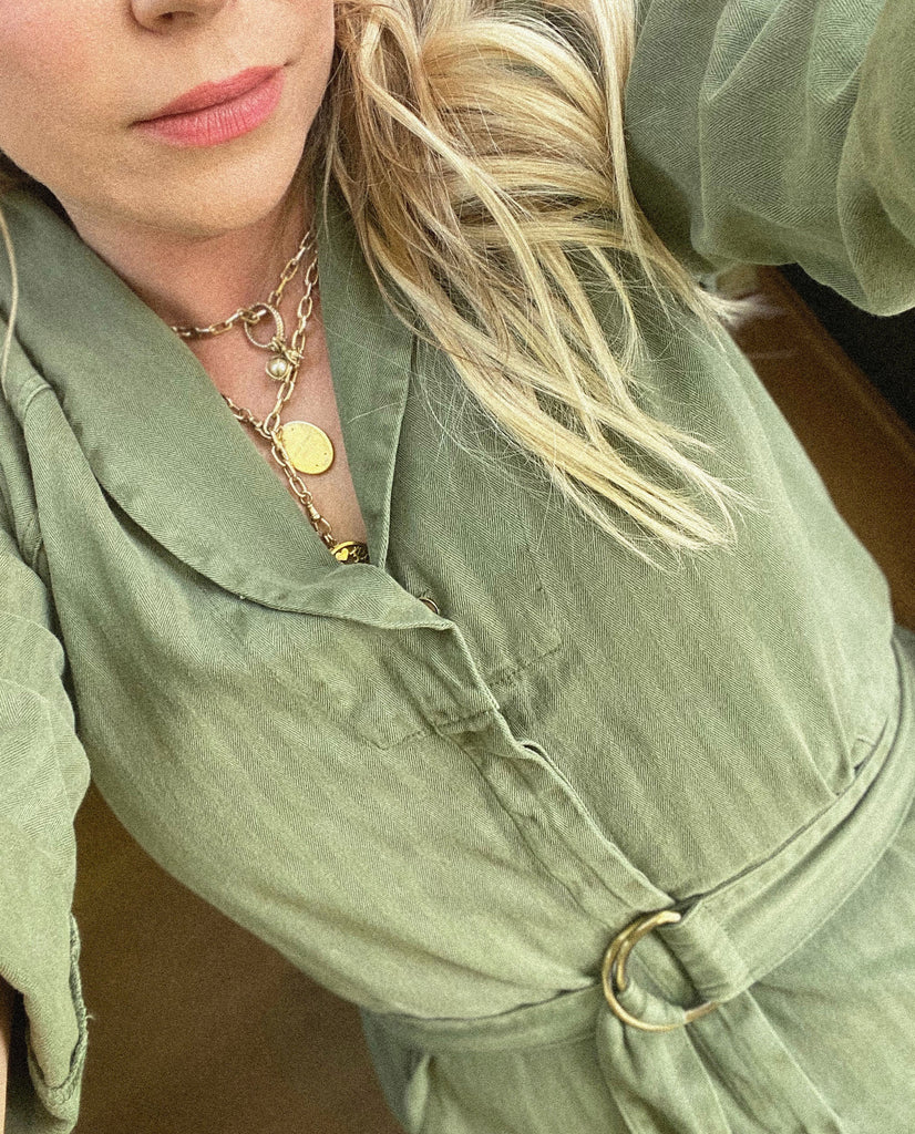 The Herringbone Roundtop Jumpsuit. -- ARMY