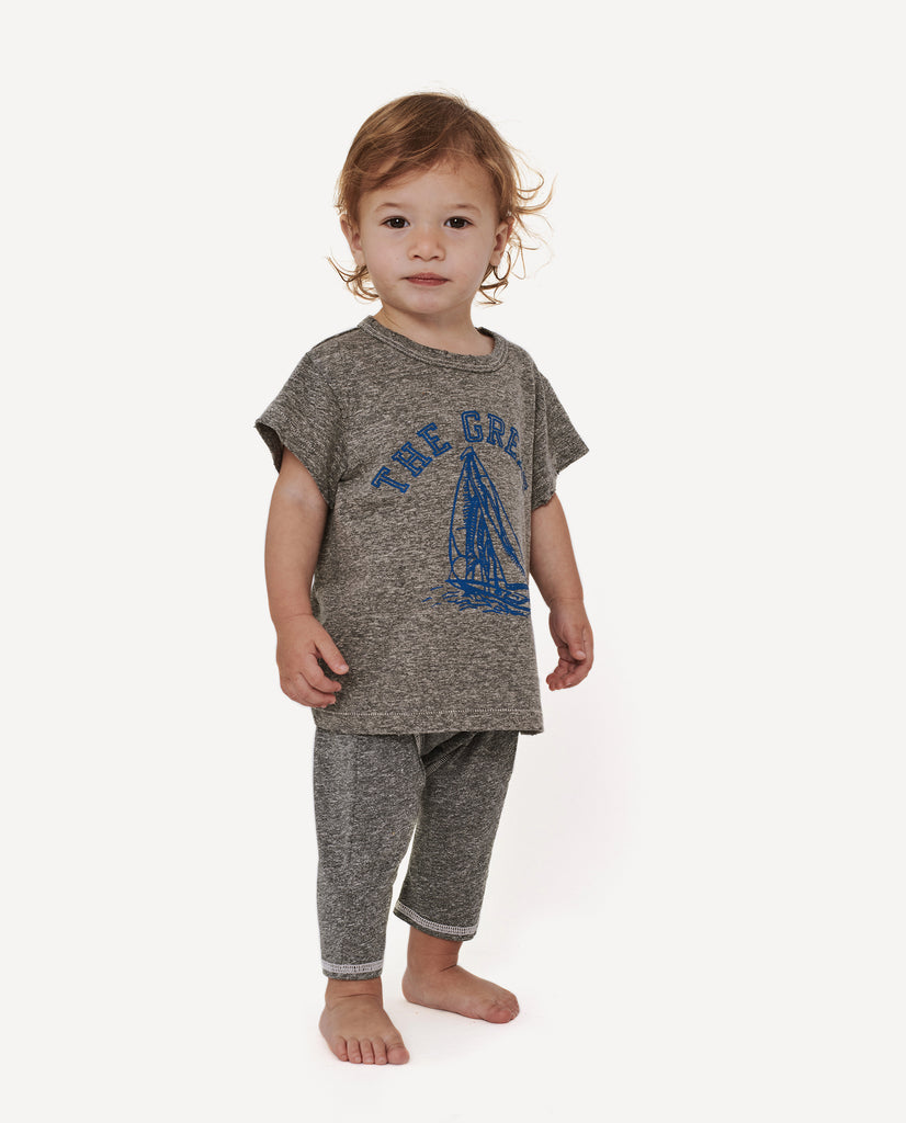 The Little Boxy Crew. -- Heather Grey With Navy Boat Graphic