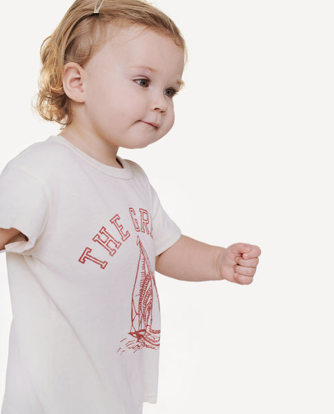 The Little Boxy Crew. -- Washed White With Red Boat Graphic