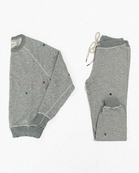 The College Sweatshirt and The Cropped Sweatpant Set. Embroidered -- Heather Grey with Multi Folk Embroidery