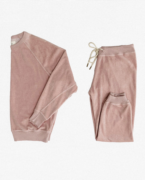 The Velour College Sweatshirt and The Velour Cropped Sweatpant Set. -- Rosewater