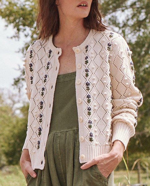 The Cornflower Cardigan. -- Cream