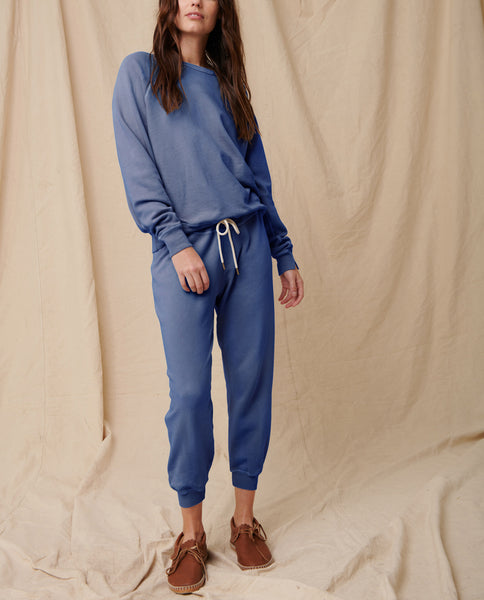 The Cropped Sweatpant. Solid -- Lake Blue