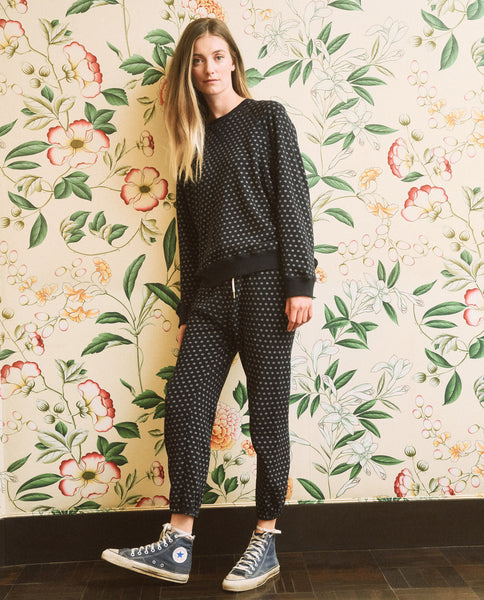 The Slouch Sweatshirt. -- Dark Navy with Daisy Print