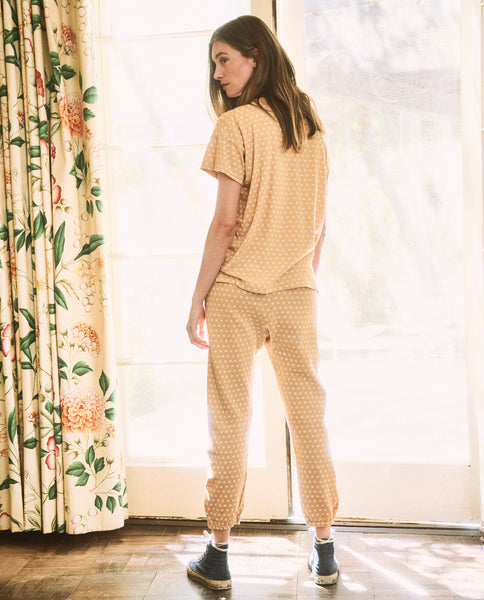 The Stadium Sweatpant. Novelty -- Honey with Daisy Print