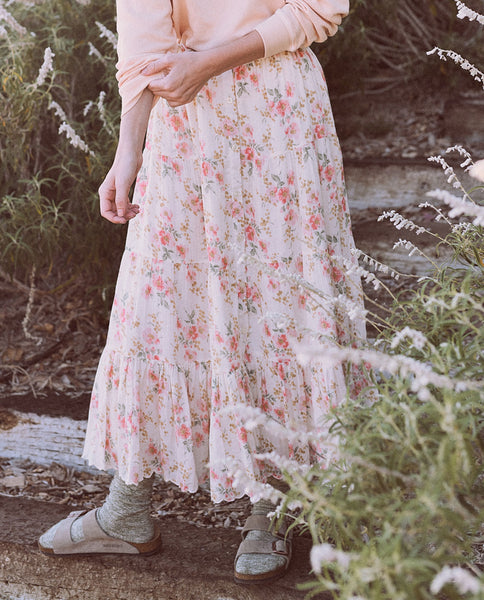 The Button Up Tier Skirt. -- Pink Sweet Pea Floral