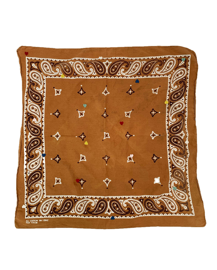 The Vintage Bandana. -- TURMERIC W. MULTI HEART EMBROIDERY