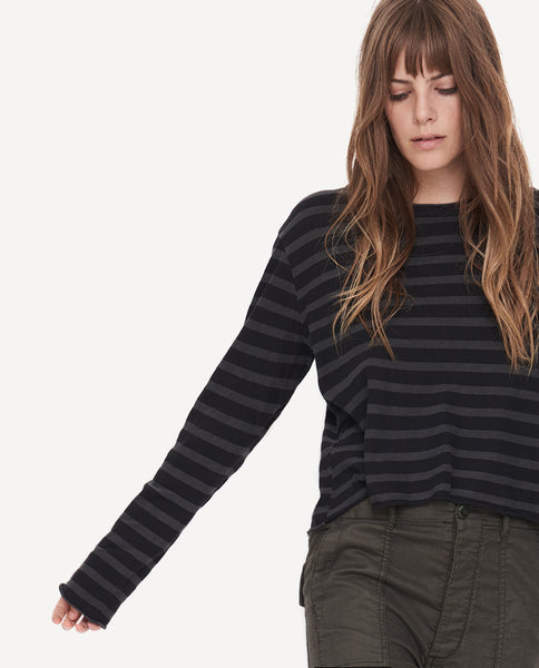 The Long Sleeve Crop Tee in Over Dye Stripe by The Great.