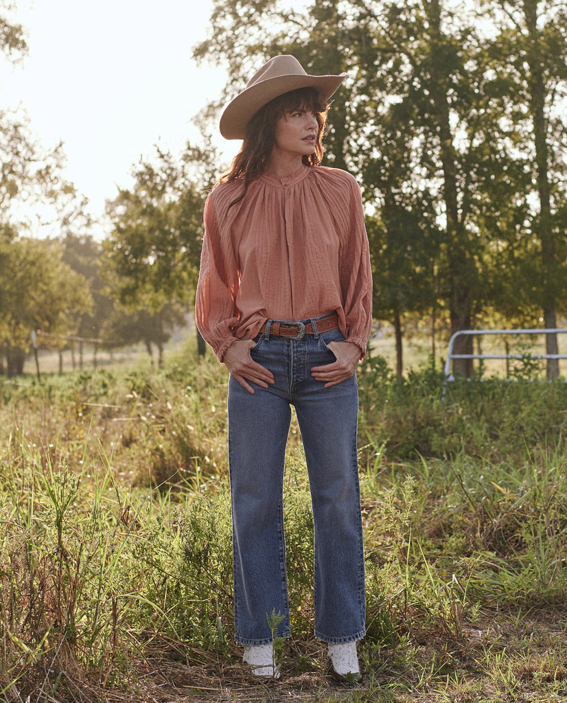 The Pintuck Lyric Top. -- APRICOT