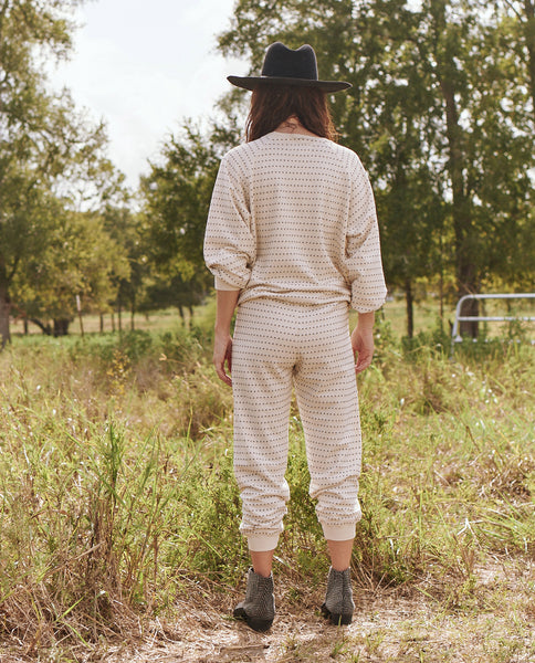The Swiss Dot Cropped Sweatpant. -- Washed White