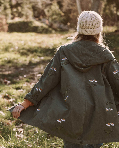 The Military Parka. -- Army Green with Daisy Embroidery