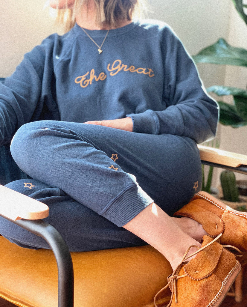 The College Sweatshirt and The Cropped Sweatpant Set. Embroidered -- Navy with Chain Stitch Embroidery
