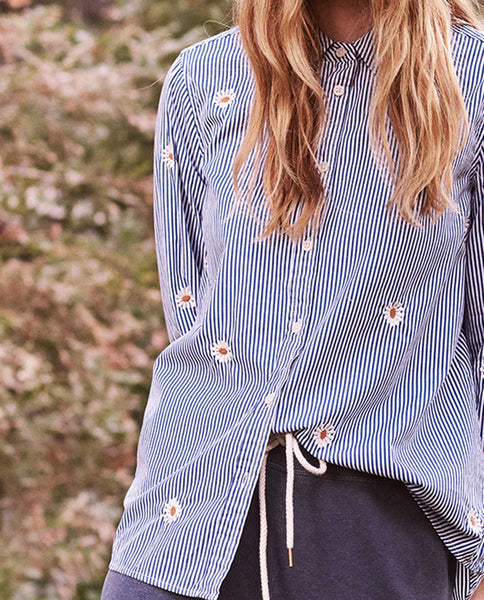 The Oversized Swing Oxford. -- Blue and White Stripe with Daisy Embroidery