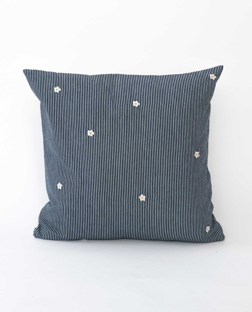 The Small Embroidered Pillow.  -- Railroad Stripe With Cream Flowers