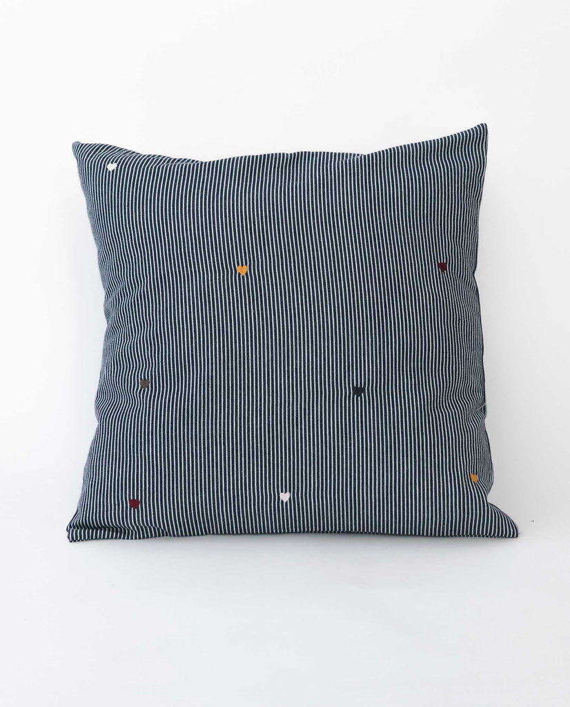 The Small Embroidered Pillow.  -- Railroad Stripe With Multi Color Heart