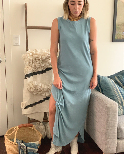 The Sleeveless Knotted Tee Dress. -- Turquoise