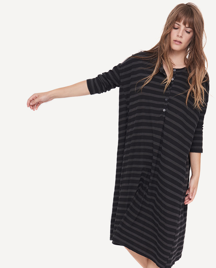 The Square Henley Dress. -- Charcoal Over Dye Stripe