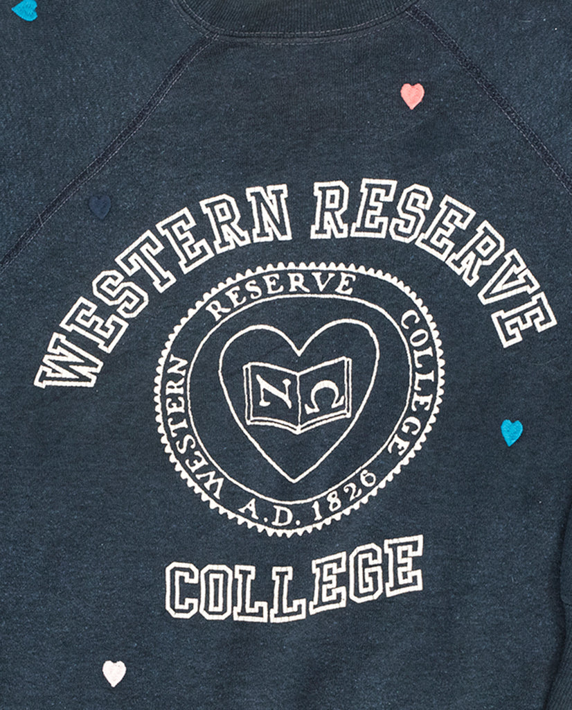 The Vintage College Sweatshirt. -- Deep Navy with Multi Heart Embroidery and College Graphic
