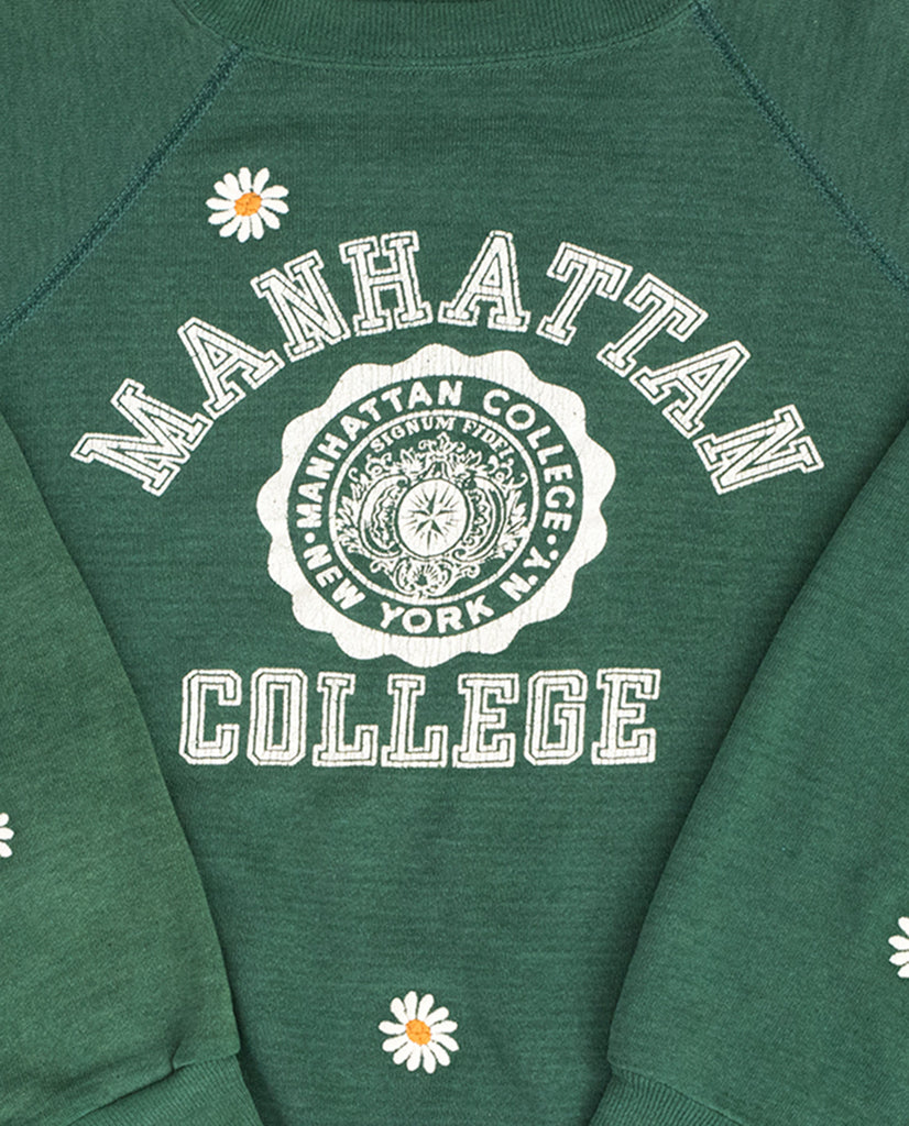 official photos 16285 eca6d ... The Vintage College Sweatshirt. -- Emerald with Daisy Embroidery and Manhattan  College Graphic ...