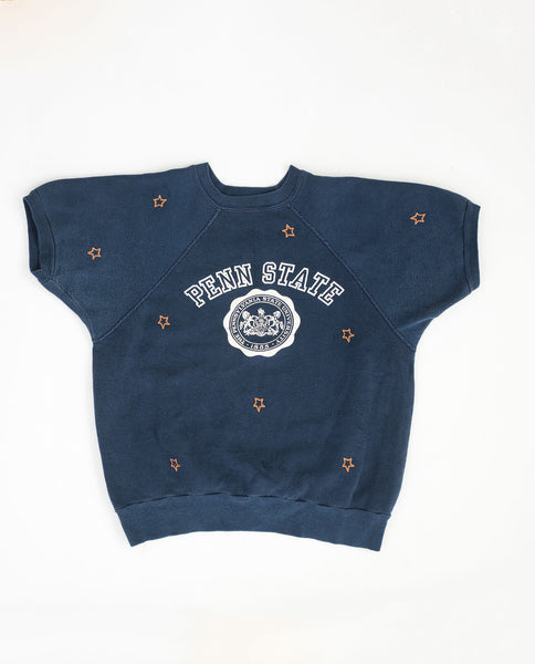 The Vintage College Sweatshirt. -- Faded Indigo with Gold Star Embroidery and Penn State Graphic