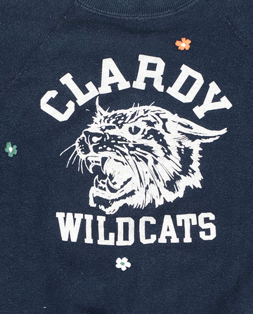 The Vintage College Sweatshirt. -- Midnight Blue with Multi Flower Embroidery and Wildcats Graphic