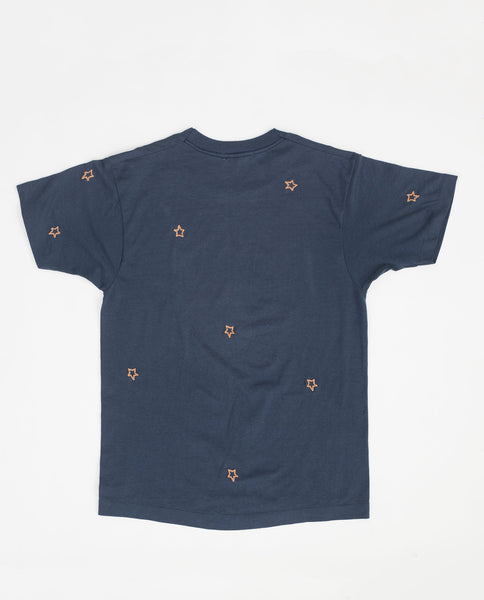 The Vintage College Tee. -- Campus Blue with Gold Star Embroidery and Syracuse Logo