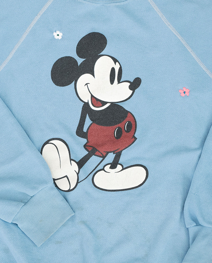 The Vintage Mickey Sweatshirt. -- Cornflower Blue with Multi Flower Embroidery