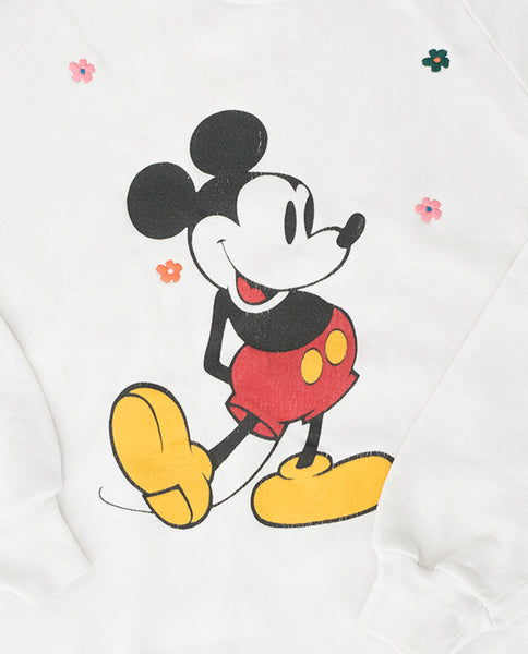 The Vintage Mickey Sweatshirt. -- Faded White with Multi Flower Embroidery
