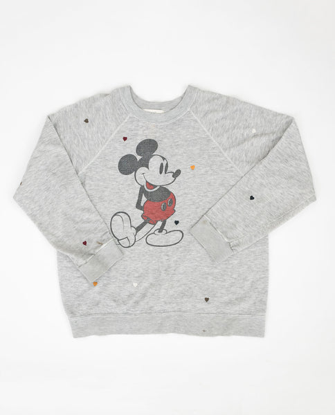 The Vintage Mickey Sweatshirt. -- Heather Grey with Multi Heart Embroidery