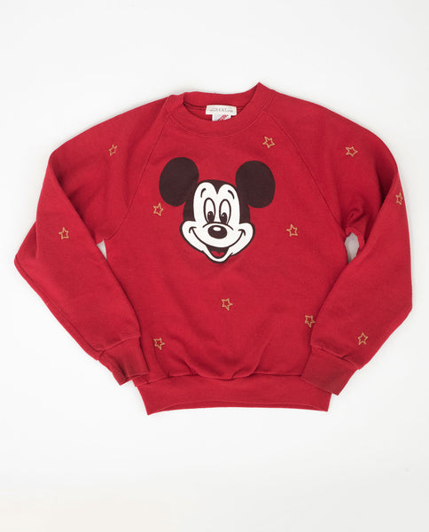 The Vintage Mickey Sweatshirt. -- Apple Red with Gold Star Embroidery