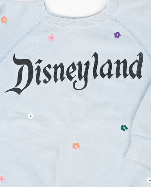 The Vintage Mickey Sweatshirt. -- Faded Blue with Multi Flower Embroidery