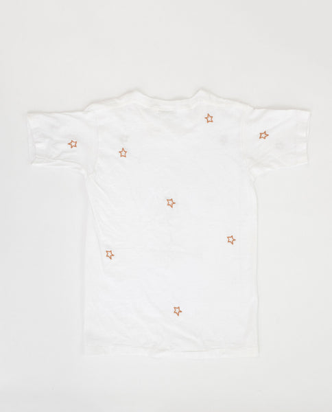 The Vintage Mickey Tee. -- White with Gold Star Embroidery
