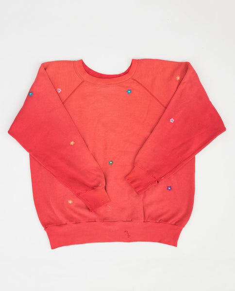 The Vintage Solid Sweatshirt. -- Bright Red with Multi Flower Embroidery