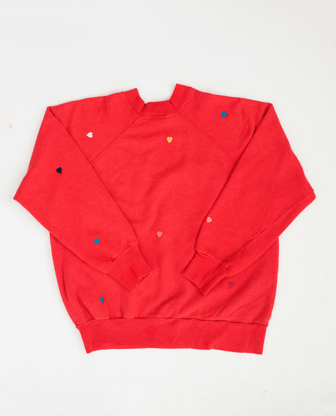 The Vintage Solid Sweatshirt. -- Cherry Red with Multi Heart Embroidery