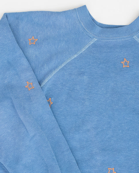 The Vintage Solid Sweatshirt. -- Faded Blue with Gold Star Embroidery