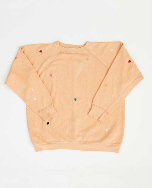 The Vintage Solid Sweatshirt. -- Faded Honey with Multi Heart Embroidery