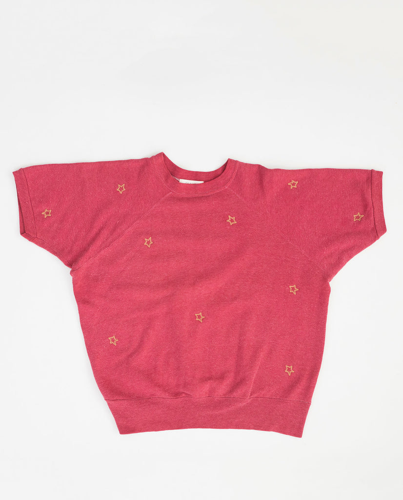 The Vintage Solid Sweatshirt. -- Faded Ruby with Gold Star Embroidery