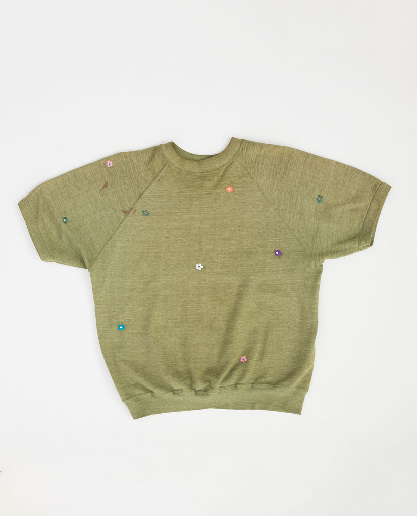 The Vintage Solid Sweatshirt. -- Moss with Multi Flower Embroidery