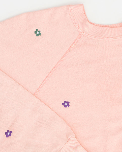 The Vintage Solid Sweatshirt. -- Peach with Multi Flower Embroidery