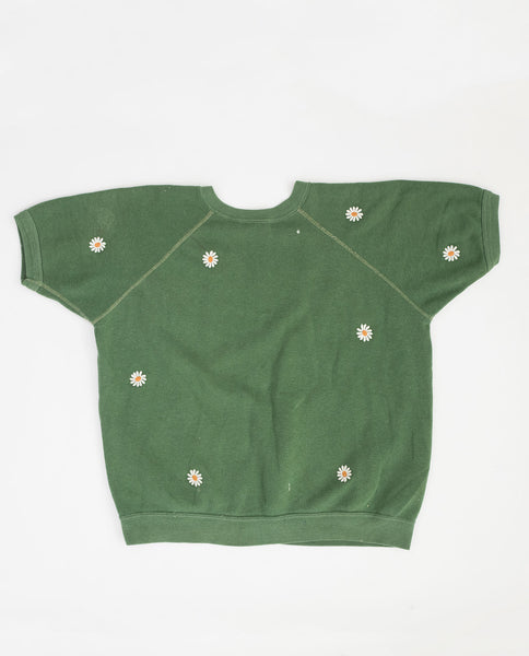 The Vintage Solid Sweatshirt. -- Bright Pine with Daisy Embroidery