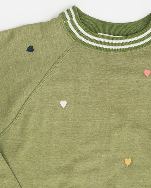The Vintage Solid Sweatshirt. -- Vintage Sage with Multi Heart Embroidery