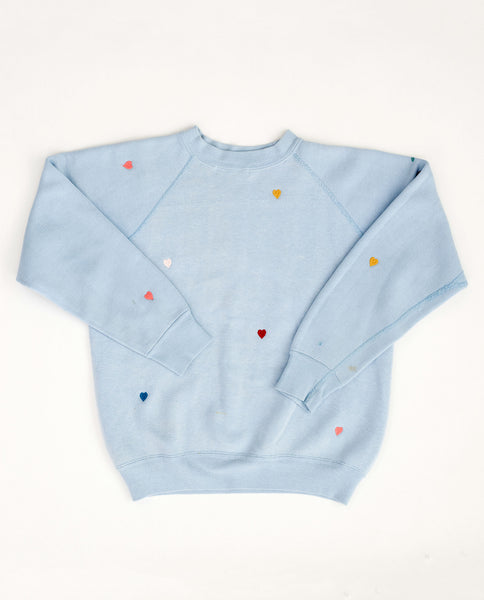 The Vintage Solid Sweatshirt. -- Sky Blue with Multi Heart Embroidery