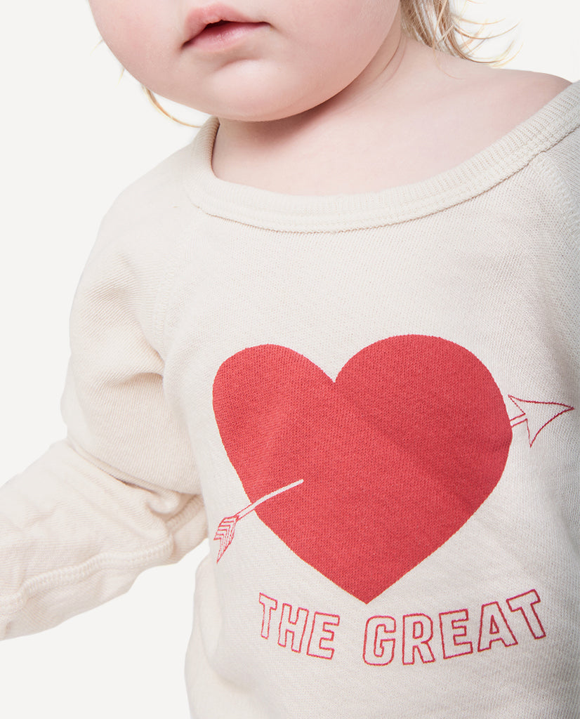 The Little College Sweatshirt. -- Vanilla with Sweetheart Graphic