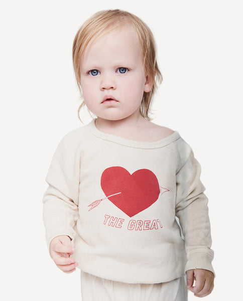 The Little College Sweatshirt. -- Vanilla with Red Sweetheart Graphic