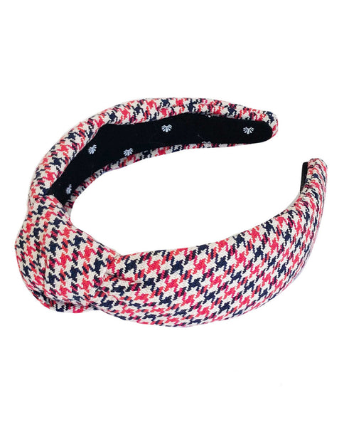 Lele Sadoughi For THE GREAT. Headband. -- Red Navy Houndstooth