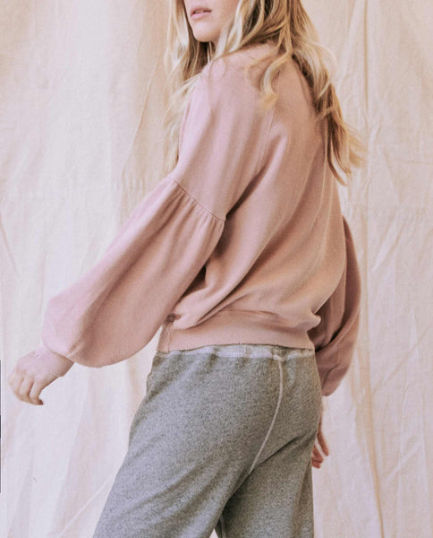 The Bishop Sleeve Sweatshirt. -- Cloud Pink